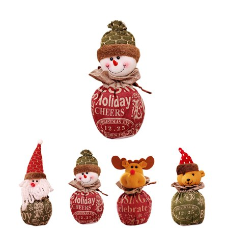 Christmas Candy Bag Cartoon Snowman Santa Claus Xmas Fruit Pouch Home Party Decoration Gift Holder - image 5 of 9