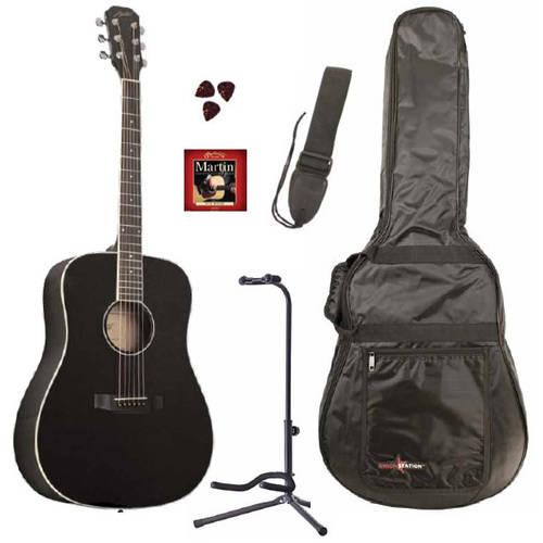 Austin Guitars 25 Series Dreadnought Acoustic Guitar Pack, Black by Austin Guitars