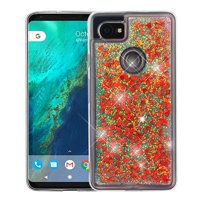Valor Quicksand Glitter Hearts Hard Plastic/Soft TPU Rubber Case Cover For Google Pixel 2 XL, Red/Green