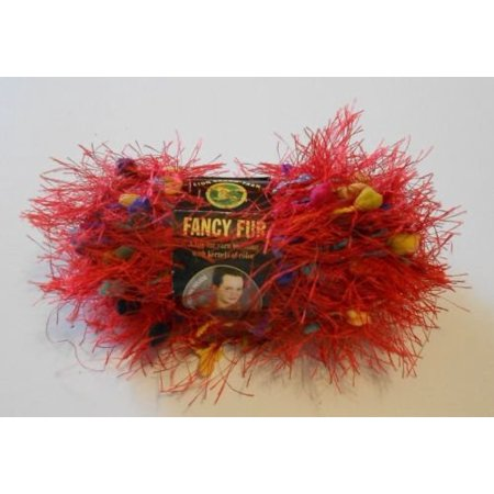 Fancy Fur Eyelash Yarn - #213 Rainbow Red, One Skein of Lion Brand Fancy Fur Eyelash Yarn. By Lion Brand