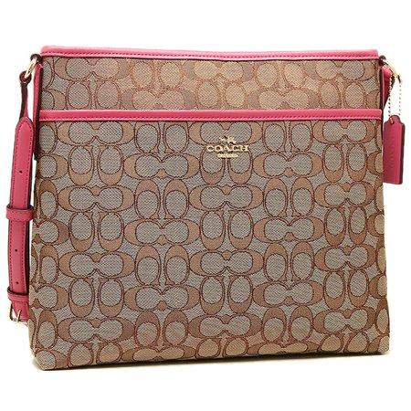 Coach File Bag In Outline Signature Jacquard Khaki Strawberry F58285