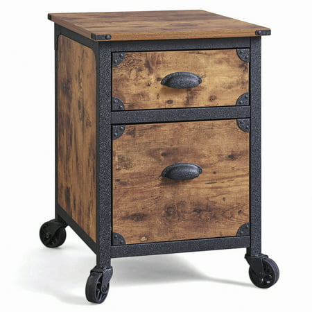 Better Homes & Gardens 2 Drawer Rustic Country File Cabinet, Weathered Pine Finish (Wood File Box)