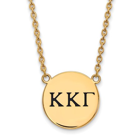 Solid 925 Sterling Silver with Gold-Toned Kappa Kappa Gamma Small Enl Pendant with Necklace