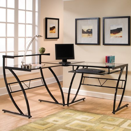 Florence L-Shaped Glass Desk, Black and (Clear Maple Desk)