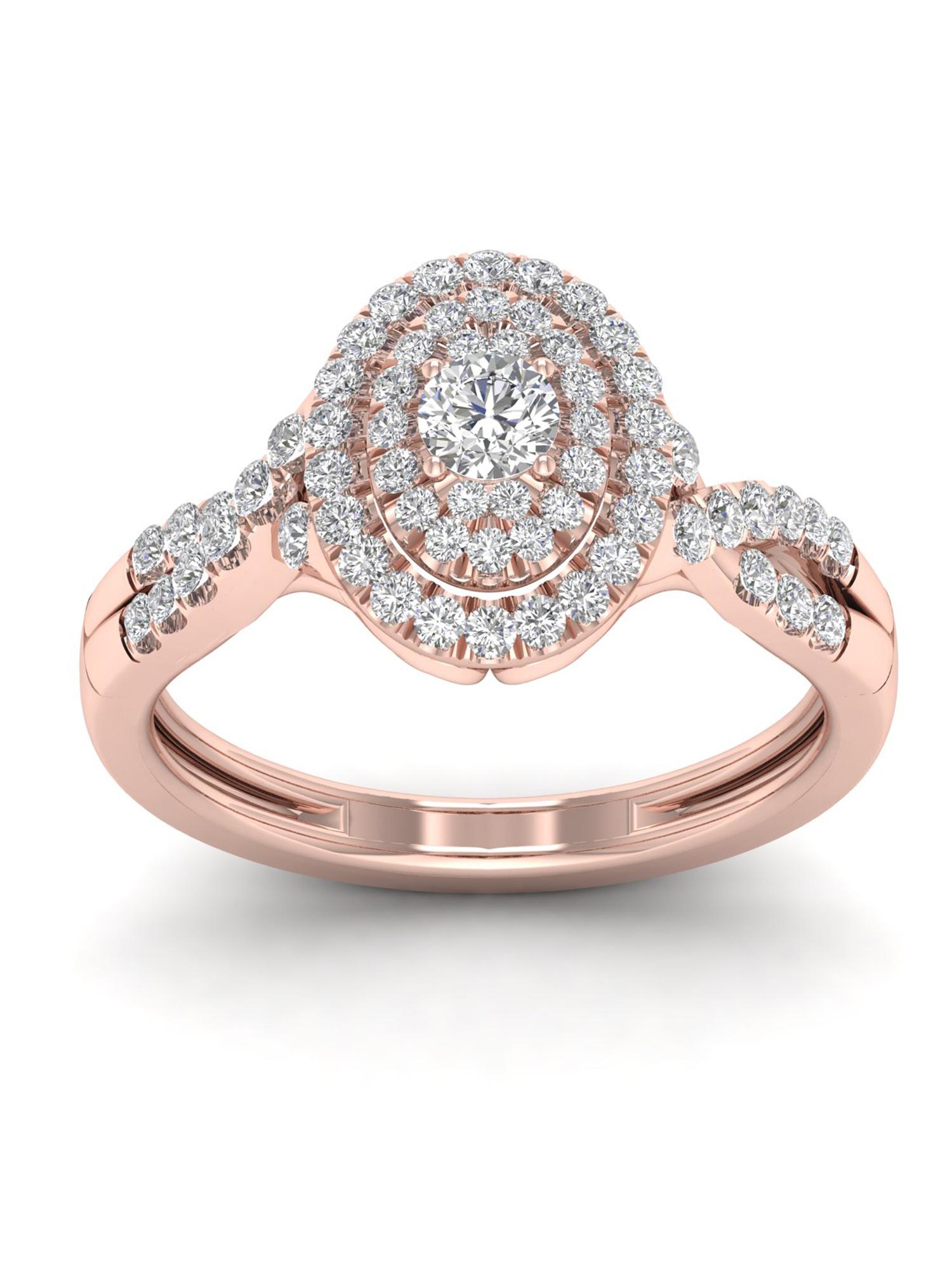 1/2ct TDW Diamond 10k Rose gold Oval Shape Halo Engagement Ring