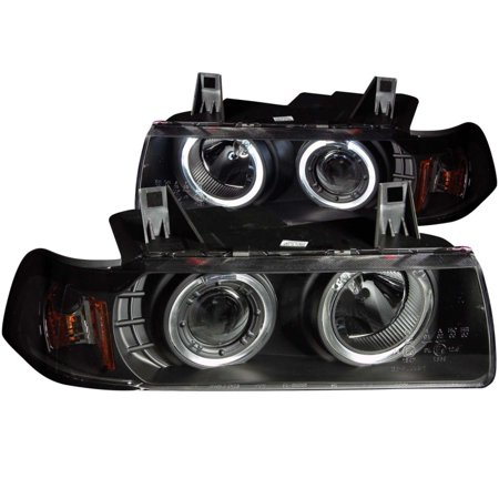 ANZO 1992-1998 BMW 3 Series E36 Projector Headlights w/ Halo Black G2 1