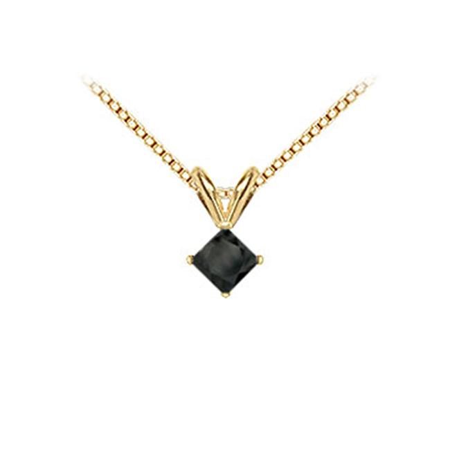 FineJewelryVault UBPD14YGSQ100BD-101 14K Yellow Gold : Princess Cut Black Diamond Solitaire Pendant - 1.00 CT. TW.