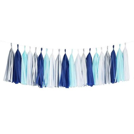 Winter Blues Aqua White Silver Turquoise Tassel Garland Banner Party Decoration - Classroom Winter Decorations
