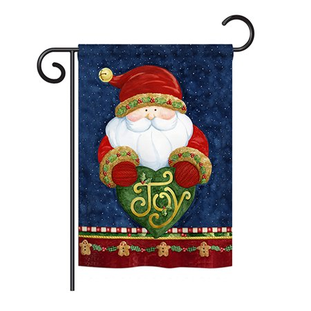 Breeze Decor - Santa Holding Joy Heart Winter - Seasonal Christmas Impressions Decorative Vertical Garden Flag 13
