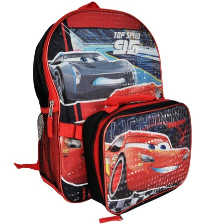 Cars Lightning McQueen Boys Large Backpack With Lunch Bag