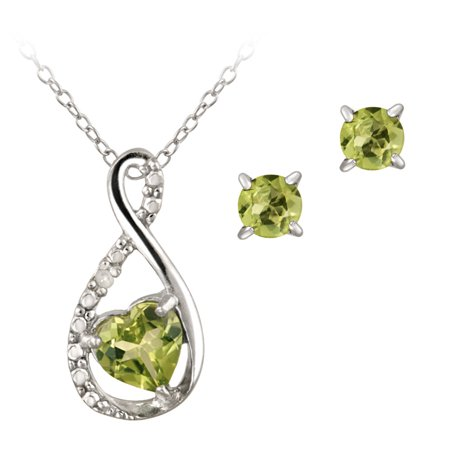 - Sterling Silver Peridot & Diamond Accent Swirl Heart Necklace and Earrings Set