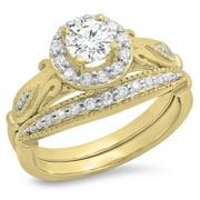 Dazzlingrock Collection 1.35 Carat (ctw) 10K White Cubic Zirconia Ladies Bridal Engagement Ring Set, Yellow Gold, Size 6