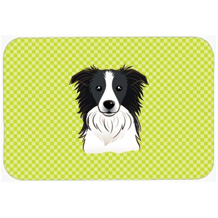 Checkerboard Lime Green Border Collie Mouse Pad, Hot Pad Or Trivet, 7.75 x 9.25 In.