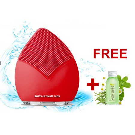 Swiss-Ultimate Labs Sonic Leaf 3-in-1 Facial Cleansing Brush for Healthy Skin, Exfoliator, Invigorating Massage, Blackheads, Microdermabrasion w/ Bonus Herbal Face Wash Sample (Red) Healthy Face Wash