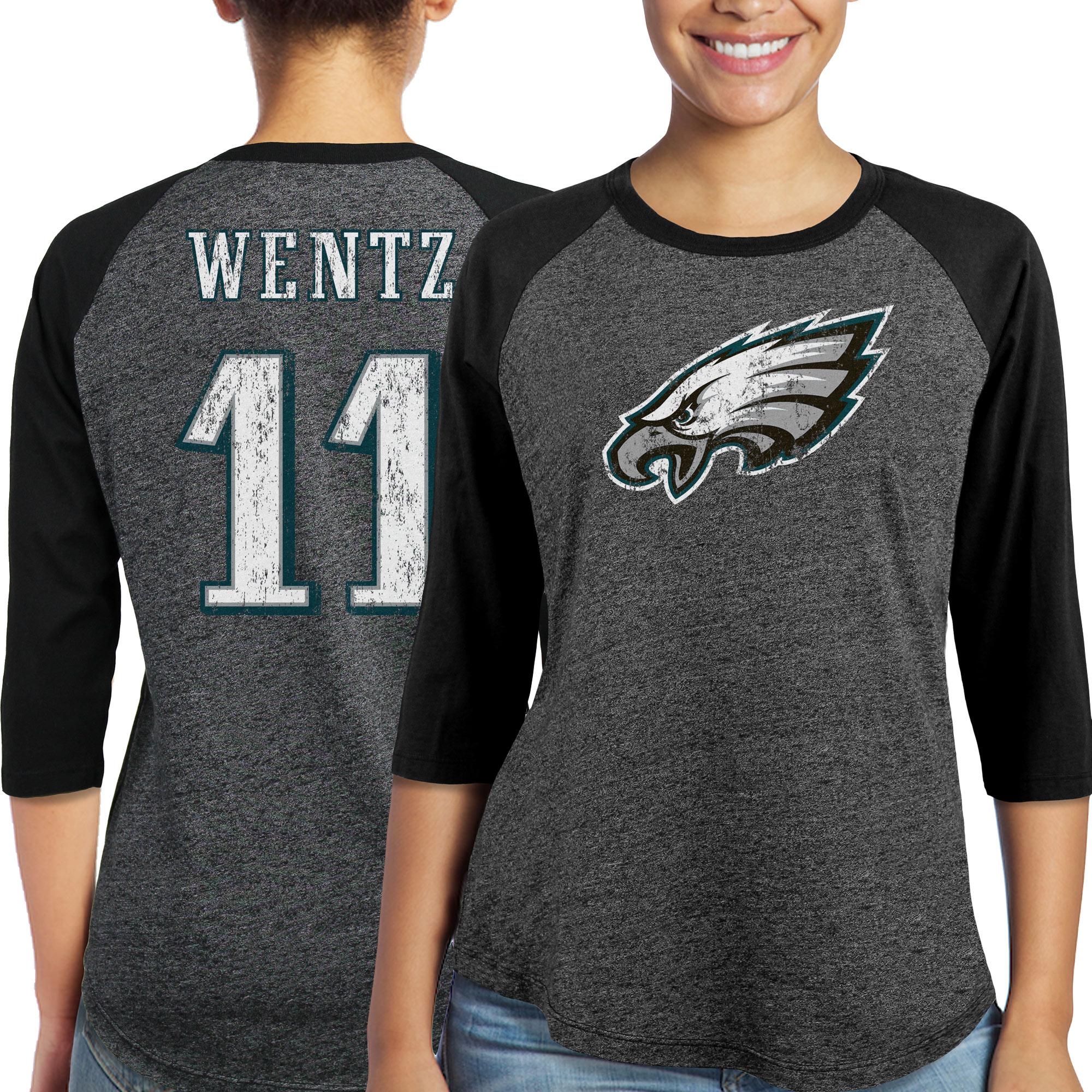 Carson Wentz Philadelphia Eagles Majestic Women's Player Name & Number Tri-Blend Three-Quarter Sleeve T-Shirt - Black