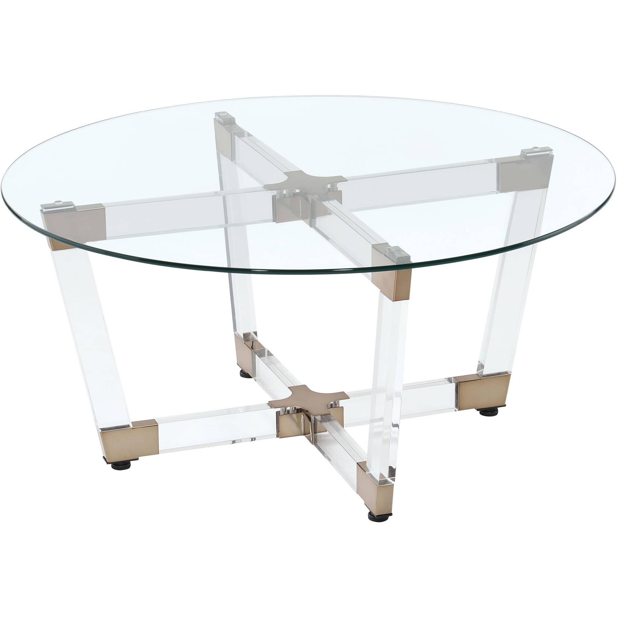 Coaster Company Coffee Table, Chocolate and Chocolate and Chrome Clear Acrylic