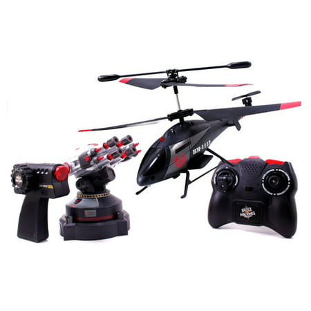 Battle Machines Remote Control Air vs Land R C Helicopter & Gun Tower Shoot Heli by