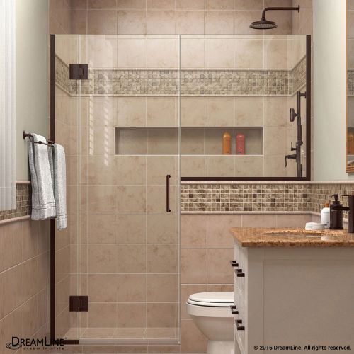 "DreamLine D12724 Unidoor-X 72"" High x 58"" Wide Hinged Frameless Shower Enclosure"