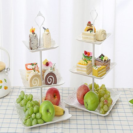 2 Pack 3-tier White Cake Stand Dessert Stand, Cupcake Stand, Tea Party Serving Platter For Wedding & Home & Holiday/Birthday Party ()