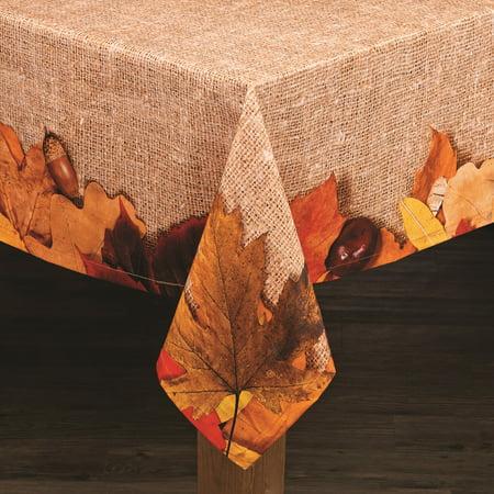 "Lintex Linens Autumn Leaves 100% Cotton Tablecloth 70"" Round"