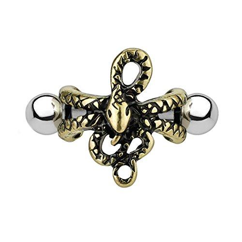 BodyJ4You Earring Cuff 16G Pierced 1.2mm Snake Antique Goldtone Ear Cartilage Helix Piercing Bar
