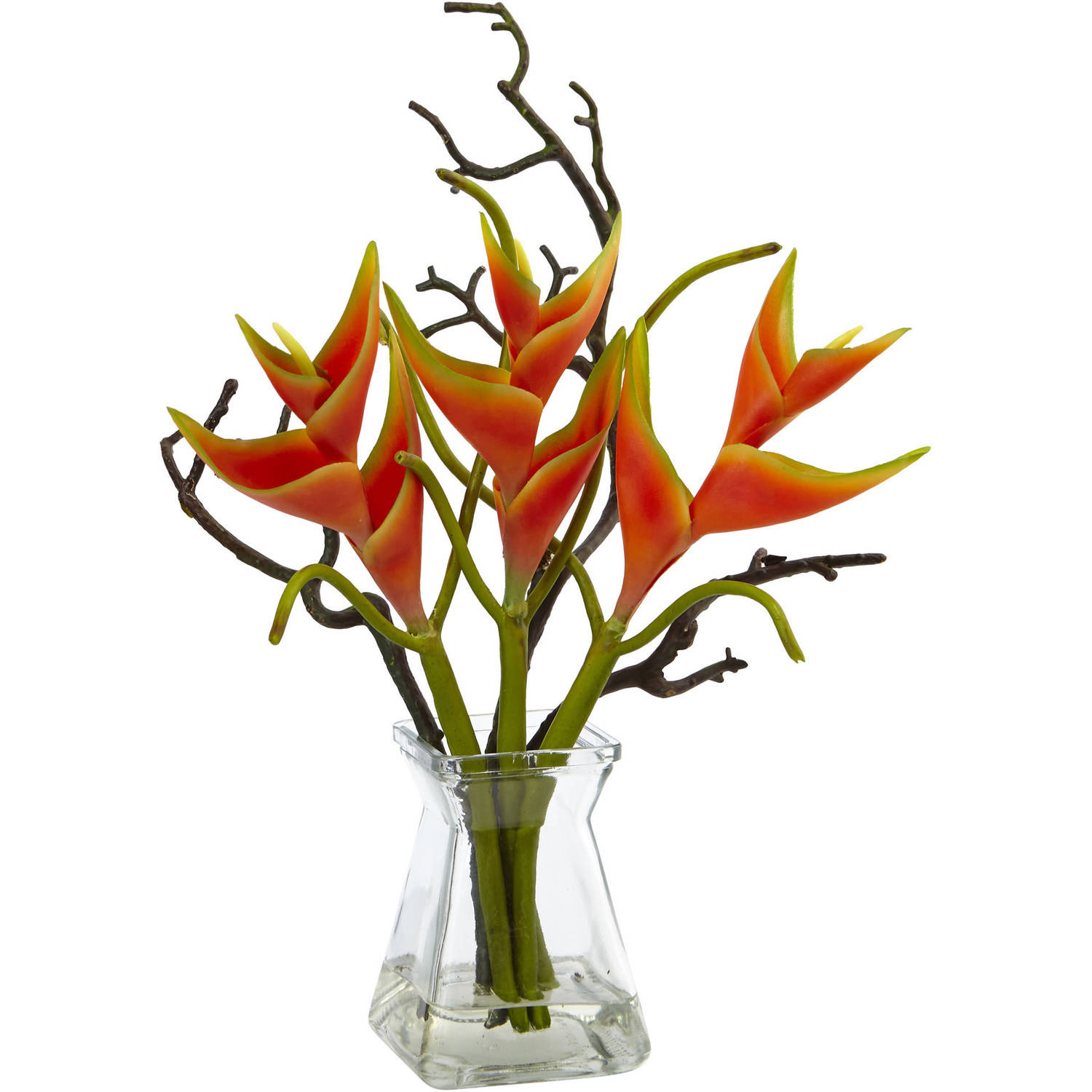 Nearly Natural Heliconia in Glass Vase