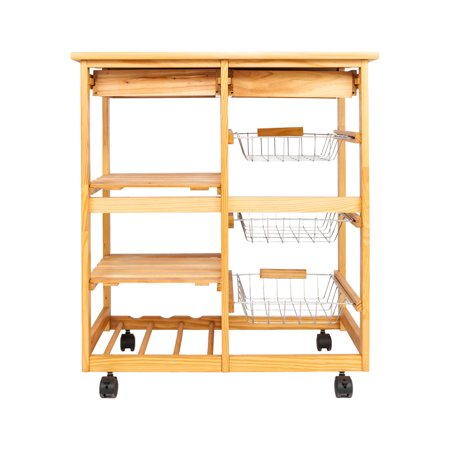 Zimtown Rolling Kitchen Island Utility Serving Cart With Storage Shelves Lockable Wheels Wood Color