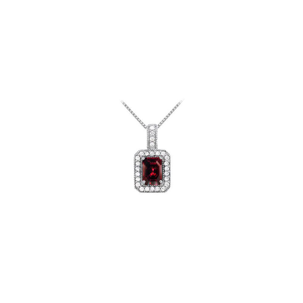 Fancy Square Garnet and Cubic Zirconia Halo Pendant in Sterling Silver - image 2 of 2