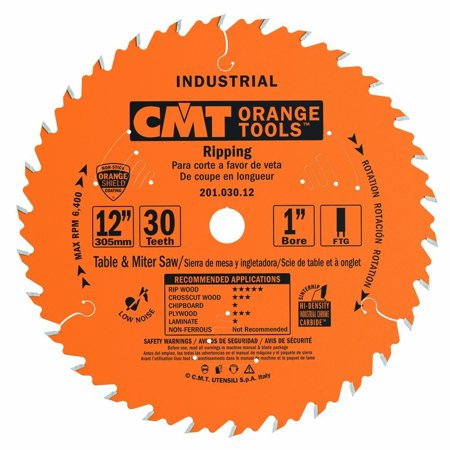 "201.030.12 12"" x 30 Tooth FTG, .126 Kerf, 1"" Bore Table Saw Ripping Blade, For for fast, smooth, heavy-duty rip cuts on soft/hardwood. Good.., By CMT"