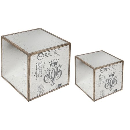 Mirror Cube Table - A&B Home Mirror End Table (2 Piece Set)