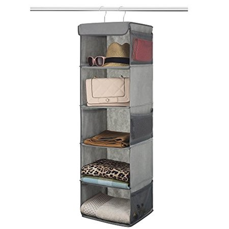 - 5-Shelf Hanging Closet Organizer - 6 Side Mesh Pockets Breathable Polypropylene Hanging Shelves - for Clothes Storage and Accessories, (Gray) 12
