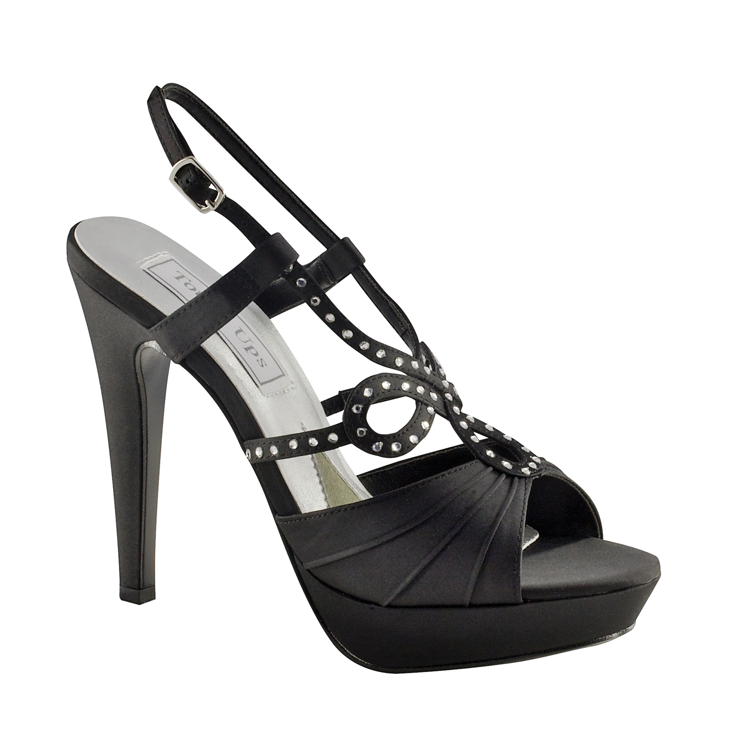 Touch Ups Womens Lonnie Leather Platform Sandal,Black Satin,9 M US