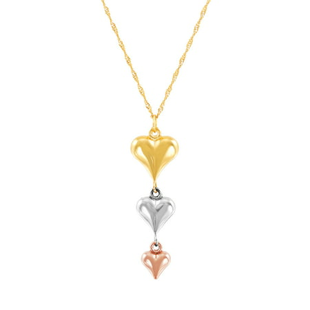 Brilliance Fine Jewelry 10K Yellow, White and Pink Gold Puffed Heart Pendant, 18