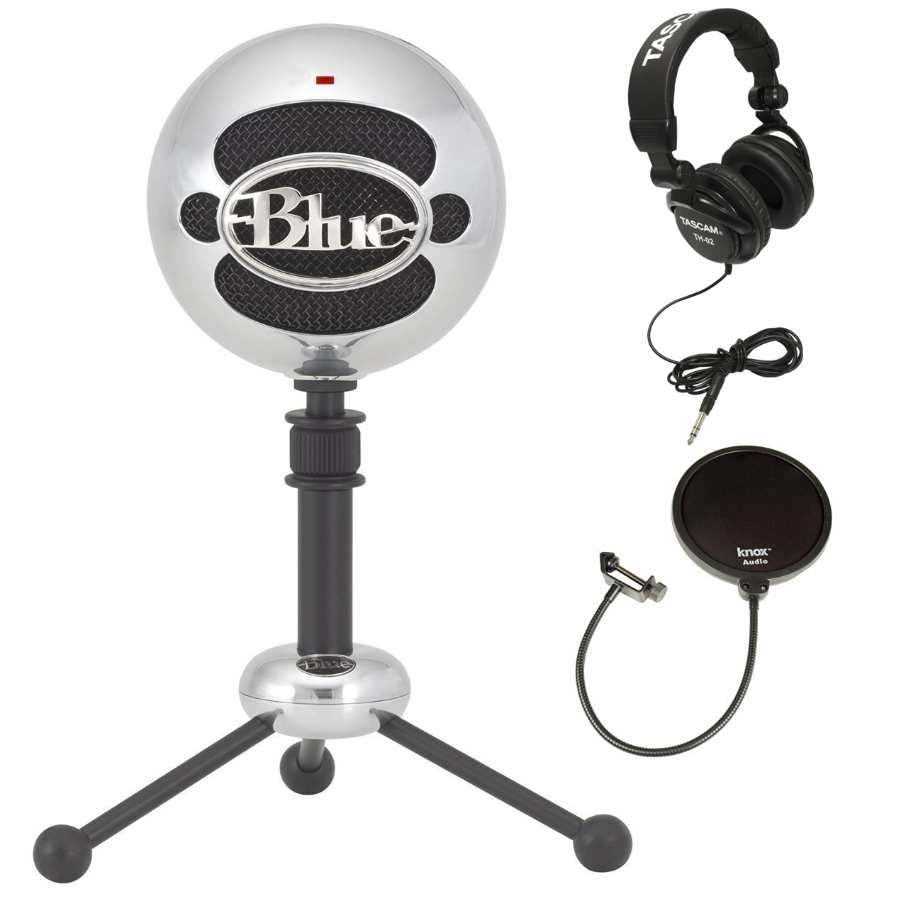 Blue Microphones Snowball Microphone (Aluminum) with Headphones and Pop Filter