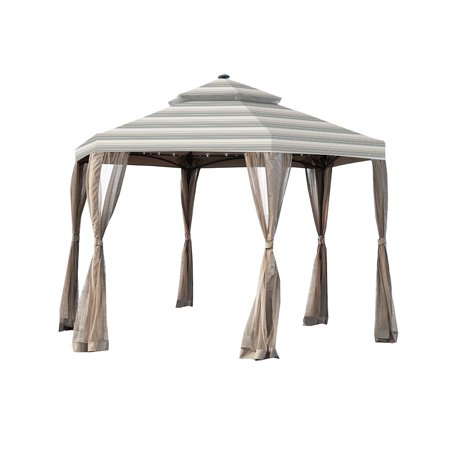 Garden Winds Replacement Canopy Top Cover for the Hexagon Solar Gazebo - Standard 350 - Stripe Stone