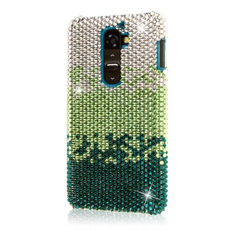 LG G2 Case, EMPIRE GLITZ Slim-Fit Case for LG G2 D801 LS980 - Crystal Jeweled Emerald Waterfall (NOT Compatible with Verizon / International (Cafe Emerald)