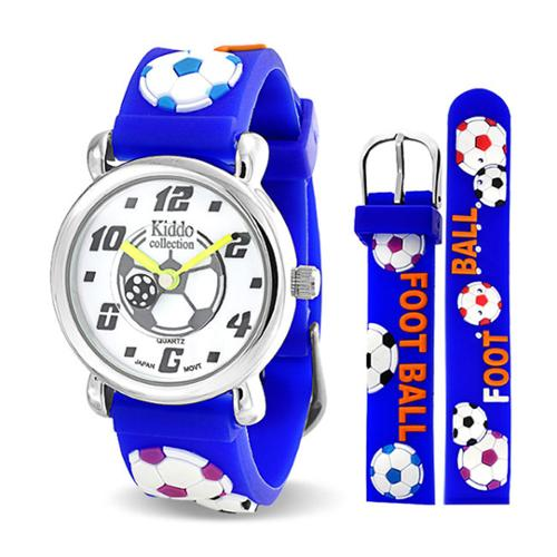 Bling Jewelry Blue Boys Soccer Football Sports Kids Watch Stainless Steel Back