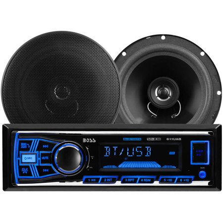 Boss Audio 638Bck Single Din In Dash Am Fm Mechless Digital Media Receiver System With Bluetooth And Speakers