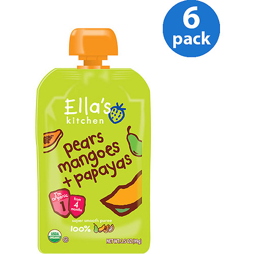 Ella's Kitchen Organic Baby Food Pears Mangoes + Papayas Stage 1 Baby Food, 3.5 oz, 6 Pack