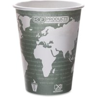Eco-products Renewable Resource Hot Drink Cups - 12 Oz - 500 / Carton - Blue Marble - Polylactic Acid [pla], Resin, Paper, Biopolymer, Plastic - Hot Drink, Coffee, Tea (epbhc12wact)