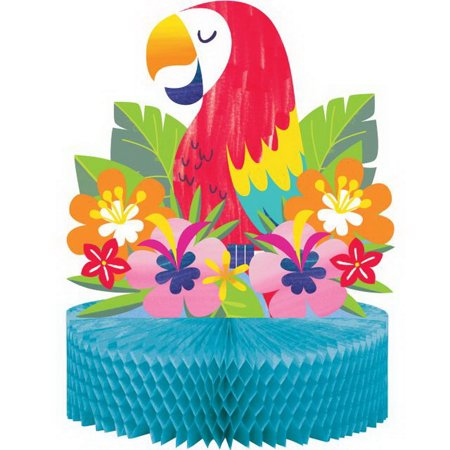 Lush Luau Parrot Flora Honeycomb Centerpiece 12 x 9 inches
