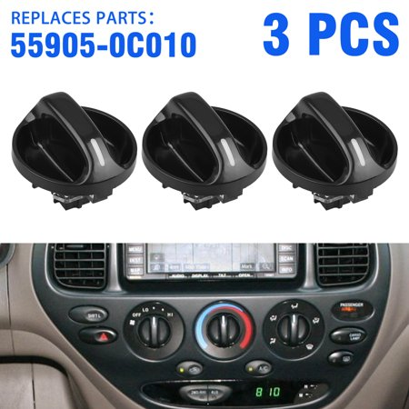 AC Climate Control Knobs for Toyota Tundra - Air Conditioner Heater Control Switch Knob for 99 00 01 02 03 04 05 06 Toyota Tundra, Replacement for the Part# 55905-0C010, Pack of 3