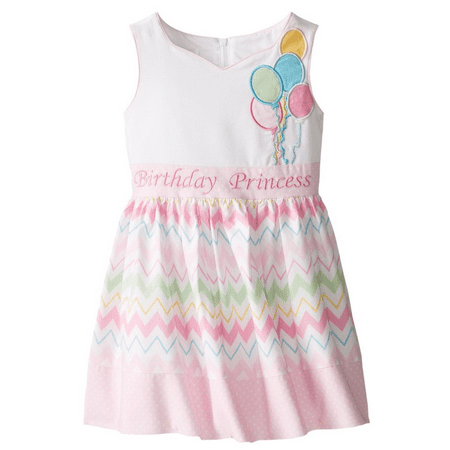 NEW Bonnie Jean Girls Princess Chevron Balloons Bow Birthday Pink Dress  4T](Girls 4t Dresses)
