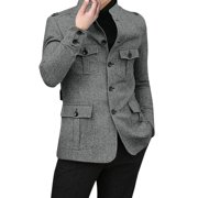 Men's Stand Collar Single Breasted Long Sleeved Casual Jacket (Size M / 38)