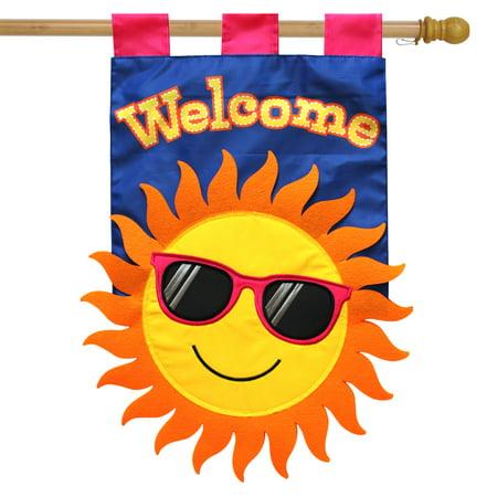 "Summer Sun Applique House Flag Welcome Sunshine 28"" x 40"" Briarwood Lane"