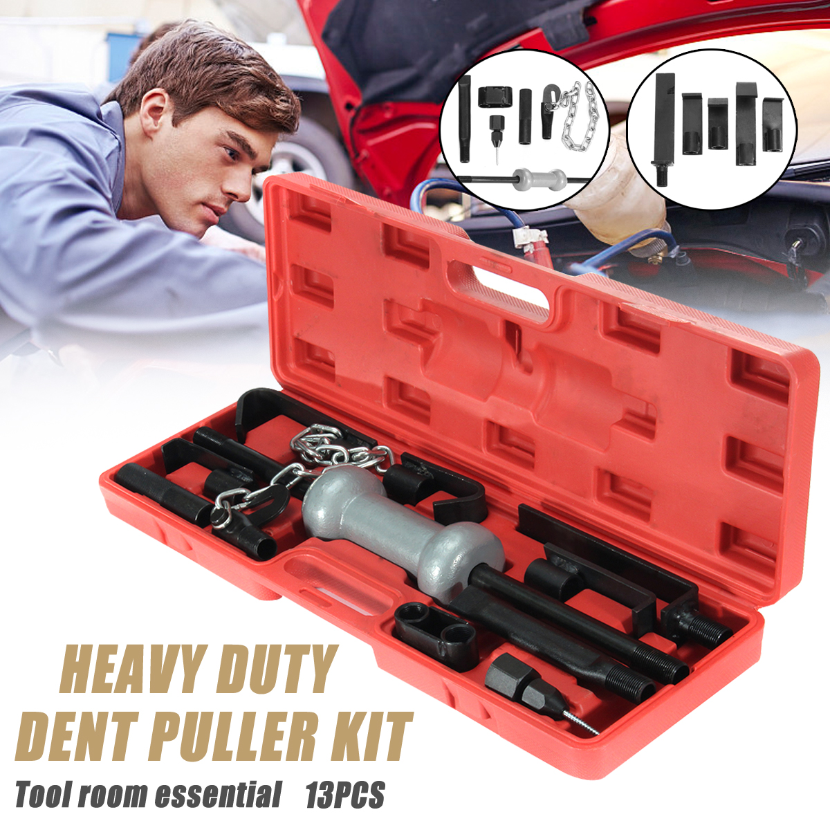 On Clearance 13pc Dent Puller Universal Tool Kit 10lb Slide Hammer Car Body Auto Parts Repair Tool Set