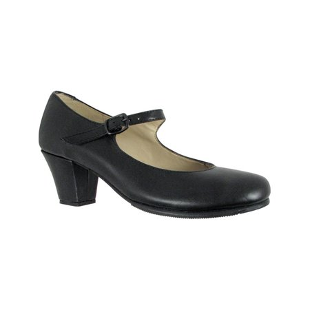 Black Leather Upper Covered Wooden Heel Folklorical Shoes 5-11 Womens](511 Shoes)