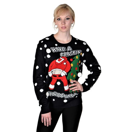 RWB Slim Fit Men's Ugly Christmas Sweater Santa Pullover Navy ()