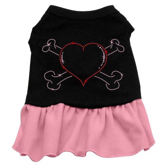 Rhinestone Heart and crossbones Dress Black with Pink XXXL (20)