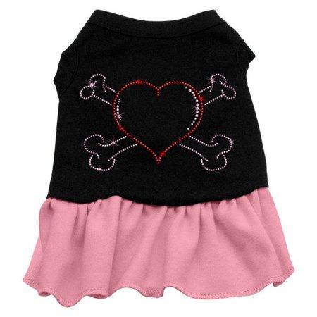 Mirage 57-15 SMBKPK Rhinestone Heart & Crossbones Dog Dress Black w/Pink Sm